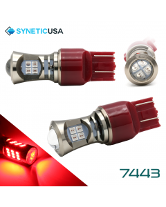 2X 7443 LED High Power 3030 Red Turn Signal Tail Brake Light Bulbs