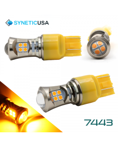2X 7443 LED High Power 3030 Amber Yellow Turn Signal DRL Light Bulbs