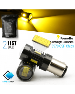 2x 1157/2057/7528 Amber Yellow CSP Chip LED Light Bulbs