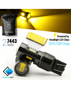 2x 7443/7440/7444 Amber Yellow CSP Chip LED Light Bulbs