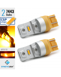2X 7443 LED High Power CSP Amber Yellow Turn Signal Light Bulbs