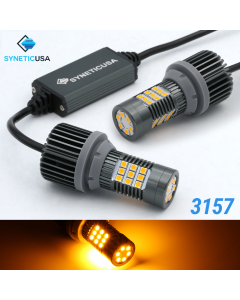 3157 LED Error Free Canbus Turn Signal Parking Light Bulbs Amber Yellow