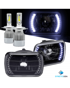 "7""X6"" inch Headlights Sealed Beam Chrome Smoked Lens Halo Rings + H4 CREE LED"