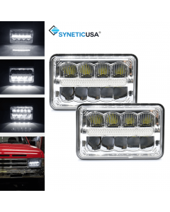 """4""""x6"""" 120W CREE LED Headlights Sealed Beam Clear High/Low Beam DRL High Power"""