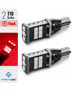 CANBUS Error Free T10 LED Red Flash Strobe 3rd Brake High Mount Light Bulbs