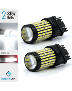 2X 50W 3157/3156 LED 6000K White Reverse DRL Turn Signal High Power Light Bulbs
