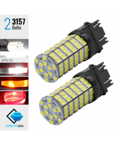 2X T20 3157/3156 LED 6000K White 120-SMD Reverse Brake Signal High Power Light Bulbs