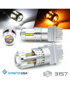High Power 3157 Dual Color White/Amber Switchback Type 1 LED Turn Signal DRL Light Bulbs
