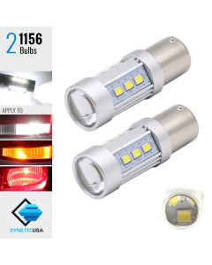 2X 1200 Lumens 1156 50W High Power 2835 Chip LED White Reverse Back Up Lights Bulbs