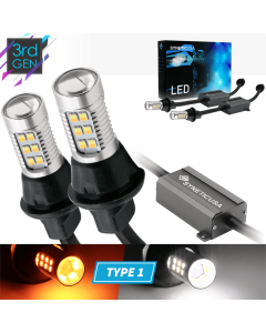 Error Free 3157 Dual Color White/Amber Type 1 Switchback LED Light Bulbs