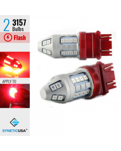 3157 Bright Red Flash Strobe Rear Safe Alert Brake Tail Stop LED Lights Bulbs