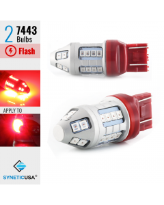 7443 Bright Red Flash Strobe Rear Safe Alert Brake Tail Stop LED Lights Bulbs