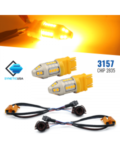 Error Free 3157 50W Front Turn Signal Light Bulbs High Power LED Amber Yell​ow