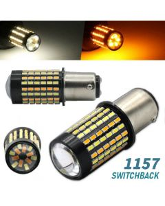 White/Amber 1157 LED DRL Switchback Turn Signal Parking Light Bulbs Dual Color