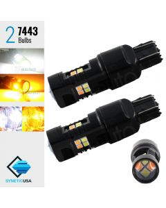 High Power 3030 Chip White/Amber 7443 LED DRL Switchback Light Bulbs Dual Color