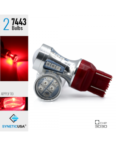 7443 50W Red Projector High Power 3030 Chip LED Brake Tail Stop Light Bulbs