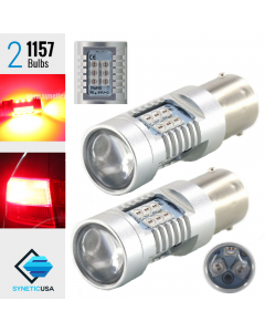 2X BAY15D 1157 50W Red LED 3535 SMD Rear Brake Tail Lamp Light Bulbs