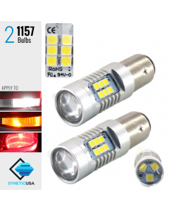 2X 1300 Lumens 1157 50W High Power Chip LED White Turn Signal Brake Light Bulbs