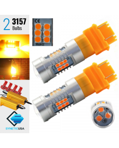 2X 3157 Amber LED Front Rear Turn Signal Light Bulbs 900LM 50W High Power+Resistors