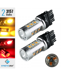 Red/Amber 3157 LED Type 1 Switchback Turn Signal Parking Light Bulbs