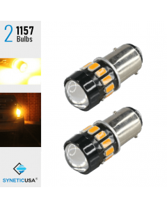2X 40W 1157 LED Amber Yellow Turn Signal Parking DRL High Power 5630 Light Bulbs