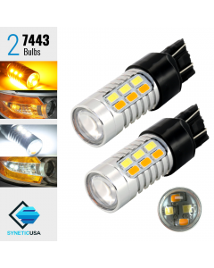 7443 Samsung Chip 22 SMD Dual Color Type 1 Switchback LED Bulbs