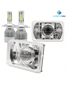"""4""""x6"""" 120W CREE LED Headlights Sealed Beam Projector Chrome Clear Lens"""