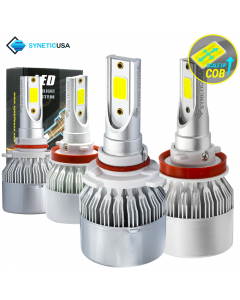 9005+H11 Combo CREE LED Headlight Kit COB Light Bulbs High & Low Beam