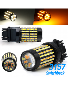 White/Amber 3157 LED DRL Switchback Turn Signal Parking Light Bulbs Dual Color