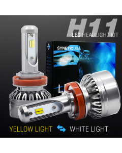 2018 H11 120W LED Fog Light Kit Bulbs Switchback Dual Color Yellow/6000K White