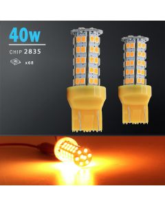2X 40W 7443 LED Amber Yellow Front Turn Signal Parking High Power Light Bulbs