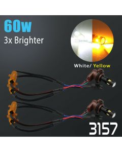 High Power 3030 Chip Error Free White/Amber 3157 LED Switchback Bulbs