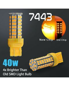 2X 40W 7443 LED Amber Front Turn Signal Parking DRL High Power Light Bulbs