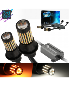 Error Free White/Amber 3157 Standard SRCK Compatible LED Switchback Light Bulbs