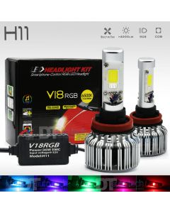 2-in-1 H11 CREE LED Headlight Kit 100W 10000LM +RGB Bluetooth Phone Control