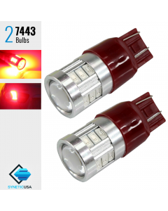 2X 7443/7440 40W Red LED Rear Brake Tail Stop Parking Hi Power Tail Light Bulbs