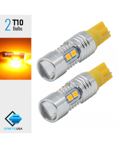 Amber Yellow 2835 T10/194 10-SMD Wedge Base bulb