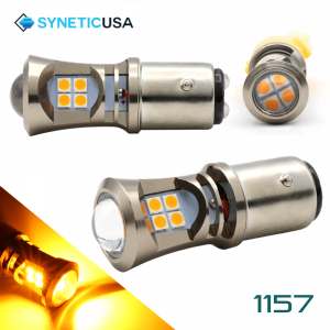 2X 1157 LED High Power 3030 Amber Yellow Turn Signal DRL Light Bulbs