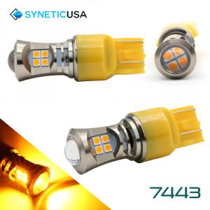 2X 7443 LED High Power 3030 Amber Yellow Turn Signal DRL Light Bulbs