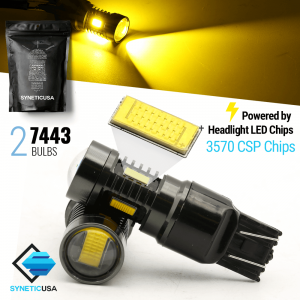 2x 7443/7440/7444 Amber Yellow CSP Chip LED Light Bulbs