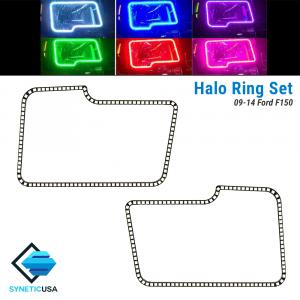 2009-2014 Ford F-150 Angel Eye LED Halo Ring RGBW Multi-Color Bluetooth Headlight Set