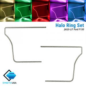 2015-2017 Ford F-150 Angel Eye LED Halo Ring RGBW Multi-Color Bluetooth Headlight Set