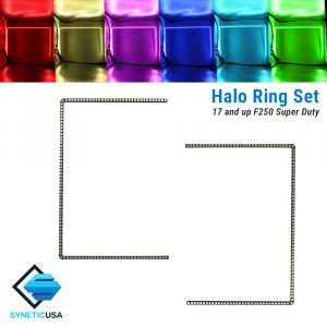 2017 Ford F-250 Angel Eye LED Halo Ring RGBW Multi-Color Bluetooth Headlight Set
