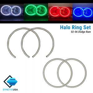 2002-2005 Dodge Ram Angel Eye LED Halo Ring RGBW Multi-Color Bluetooth Headlight Set