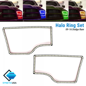 2009-2016 Ram Angel Eye LED Halo Ring Set RGBW Multi-Color Bluetooth (Dual Headlight)