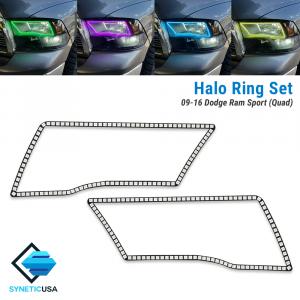2009-2016 Ram Angel Eye LED Halo Ring Set RGBW Multi-Color Bluetooth (Sport Quad Headlight)