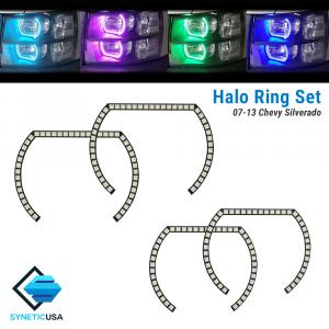 2007-2013 Chevy Silverado Angel Eye LED Halo Ring RGBW Multi-Color Bluetooth Headlight Set