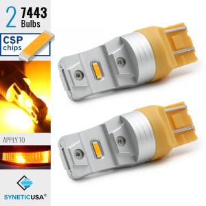 2X 7443 LED High Power CSP Amber Yellow Turn Signal Light Bulbs