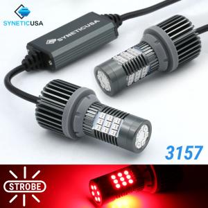 Error Free 3157 Red LED Strobe Flash Blinking Brake Tail Light/Parking Bulbs