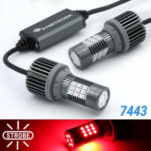 Error Free 7443 Red LED Strobe Flash Blinking Brake Tail Light/Parking Bulbs
